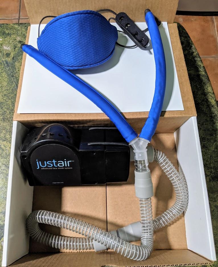 JustAir fack mask and powered respirator, photo courtesy Startups San Antonio