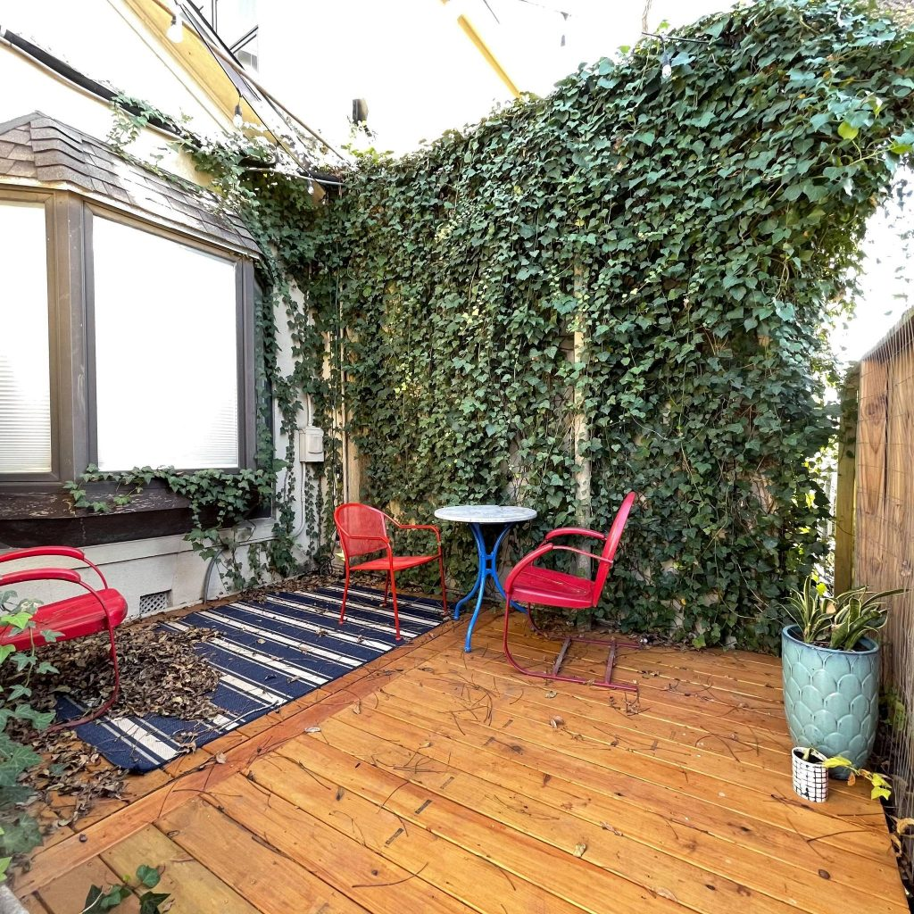 The Impact Guild added an outdoor space that accommodates up to four people. Photo credit: Inga Cotton.
