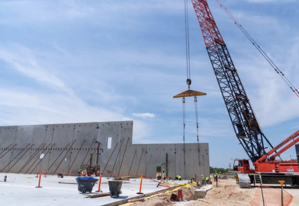 Concrete walls for the Port San Antonio forthcoming innovation center are installed. Photo credit: Port San Antonio.