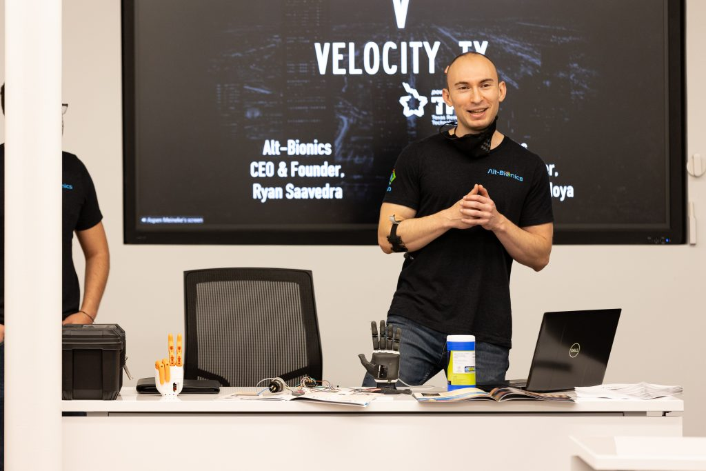 Alt Bionics founder Ryan Saavedra at a VelocityTX workshop, photo courtesy VelocityTX