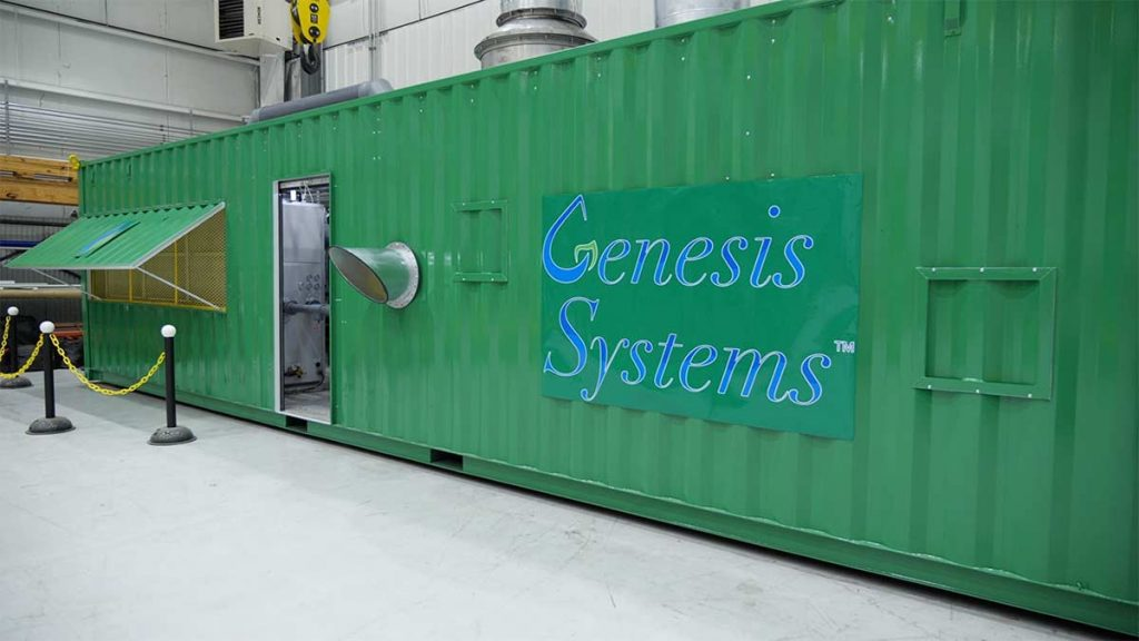 An exterior view of cargo-container sized water production system by Genesis Systems, courtesy photo
