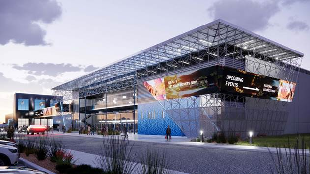 The new Genesis technology will be located alongside the upcoming Tech Port Center + Arena building. Image courtesy of RVK Architects/Port San Antonio.