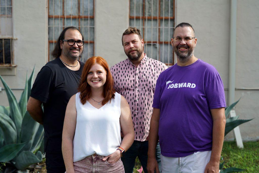 Brett Elmendorf (from left), Natalie Karney, Drew Hicks, and Rackspace co-founder Dirk Elmendorf have launched Jobward, a new startup for job seekers. Courtesy photo.